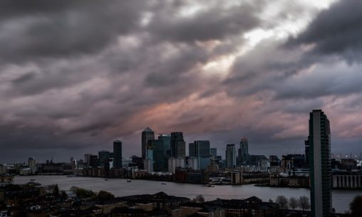 Storm Barney approaching London at sundown last week with more than 40mph winds. Photograph: Guy Corbishley/Corbis