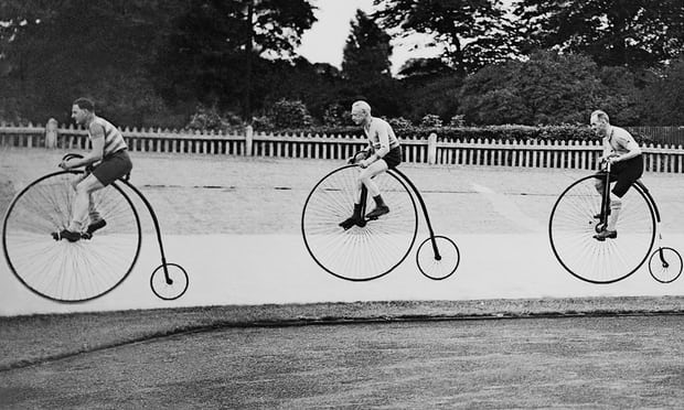Old timers: penny farthing racers at Herne Hill, London, August 1937. Photograph: Keystone France/Gamma-Keystone via Getty Images